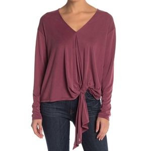 ASTR the Label Maroon Ruched Tie Front Tee